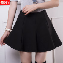 skirt Spring 2021 20 (2-foot waist) 21 / L 22 / XL 23 / 2XL 24 / 3XL 25 / 4XL F9962 black Short skirt sexy Natural waist A-line skirt Solid color Type A 18-24 years old ON-F9962 Onoev Decorative stitching of open line