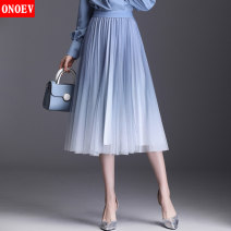 skirt Spring 2020 Average size (80-140 kg) Lx8826 blue lx8826 purple lx8826 green Mid length dress commute High waist Pleated skirt Type A ON-LX88 26 Onoev Korean version