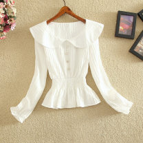 shirt White, blue S,M,L Spring 2021 Cellulose acetate 81% (inclusive) - 90% (inclusive) Long sleeves commute Regular Doll Collar Socket routine Solid color Self cultivation Yi Meiyuan Korean version Fashion Top