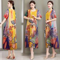 Dress Summer 2020 1, 2, 3, 4, 5, 6 XL,2XL,3XL,4XL,5XL Mid length dress singleton  Short sleeve commute Crew neck Decor Socket ethnic style MX687 hemp