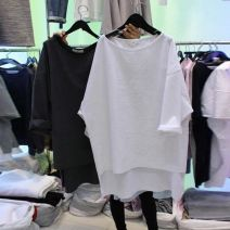 T-shirt White, black S,M,L,XL Autumn of 2019 three quarter sleeve Crew neck easy Medium length routine commute cotton 96% and above Korean version classic Solid color
