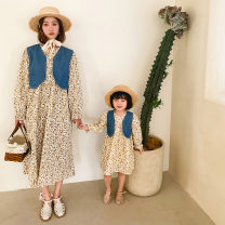 Parent child fashion yellow Women's dress female Other / other 90cm, 100cm, 110cm, 120cm, 130cm, mom s, mom M spring and autumn Korean version routine Broken flowers skirt Pure cotton (100% cotton content) Class A 13 years old