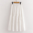 skirt Summer 2020 M Glacier white Mid length dress commute High waist Splicing style Solid color Type A 25-29 years old y0 81% (inclusive) - 90% (inclusive) other Fleroez / flotz cotton Pleats, Gouhua, hollowing out, stitching Korean version