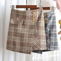 skirt Spring 2021 S,XL,L,M Black, yellow Short skirt commute High waist A-line skirt lattice Type A 25-29 years old More than 95% Wool cotton Korean version 201g / m ^ 2 (including) - 250G / m ^ 2 (including)