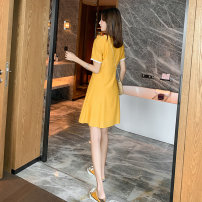 Dress Summer of 2019 yellow S M L XL Short skirt singleton  Short sleeve commute stand collar High waist Solid color Socket A-line skirt routine Others 25-29 years old Yiduobao Korean version Button embroidery YDB-1811 31% (inclusive) - 50% (inclusive) polyester fiber Pure e-commerce (online only)