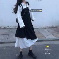 Dress Spring 2021 Separate shots White shirt 335, contrast dress 336 Mid length dress singleton  Sleeveless commute Loose waist Solid color Irregular skirt camisole 18-24 years old Type A Korean version 30% and below