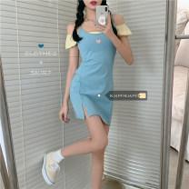 Dress Spring 2021 White top, yellow top, black skirt, baby blue skirt Average size Short skirt singleton  Sleeveless commute High waist Socket A-line skirt 18-24 years old Type A Korean version Embroidery 30% and below