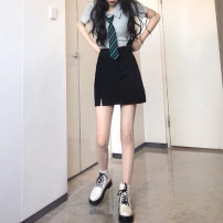 Fashion suit Summer 2021 M. L, average size Grey top, black skirt 18-25 years old 30% and below cotton