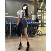 Fashion suit Summer 2021 S, M Small sleeve shirt + tie, grey skirt 18-25 years old 30% and below cotton
