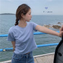 T-shirt Orange, white, purple, red, green, black, cream yellow, plum, lotus root pink, BB blue S,M,L Spring 2021 Short sleeve Crew neck Self cultivation have cash less than that is registered in the accounts routine commute other 30% and below 18-24 years old Korean version Solid color