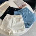 Jeans Summer 2021 Sky blue, off white, black S,M,L shorts High waist Knickerbockers routine 18-24 years old Make old light colour 30% and below
