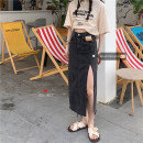 skirt Summer 2021 S,M,L Blue, black Mid length dress commute High waist Denim skirt Solid color Type A 18-24 years old 30% and below other Korean version