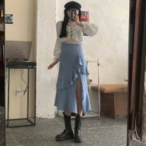 skirt Spring 2021 S. M, l, average size Mid length dress commute High waist Solid color 18-24 years old 30% and below Korean version
