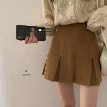 skirt Spring 2021 S,M,L Khaki, dark green Short skirt commute High waist Pleated skirt Solid color Type A 18-24 years old 30% and below other Korean version