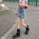 skirt Summer 2021 S,M,L blue Short skirt commute High waist A-line skirt Solid color Type A 18-24 years old 30% and below Denim pocket Korean version