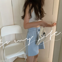 Casual pants Blue, plum powder Average size Summer 2021 shorts Wide leg pants High waist commute routine 18-24 years old 30% and below Korean version