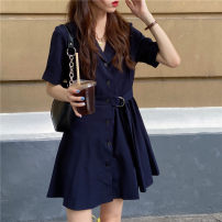 Dress Summer 2021 Picture color Average size Short skirt singleton  Short sleeve commute V-neck High waist Solid color routine 18-24 years old Korean version 30% and below