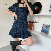 Dress Spring 2021 Dark blue S,M,L Short skirt singleton  Short sleeve commute square neck High waist A-line skirt puff sleeve 18-24 years old Type A Korean version 30% and below