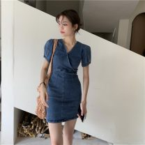 Dress Summer 2021 Graph color S, M Short skirt singleton  Short sleeve commute V-neck High waist Solid color Socket A-line skirt puff sleeve 18-24 years old Type A Other / other Korean version 30% and below