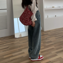 Jeans Spring 2021 Wash blue S,M,L trousers High waist Wide legged trousers routine 18-24 years old washing 30% and below