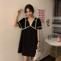 Dress Spring 2021 Yellow, black Average size Middle-skirt singleton  Short sleeve commute V-neck Loose waist Solid color Socket A-line skirt 18-24 years old Type A Korean version 30% and below other