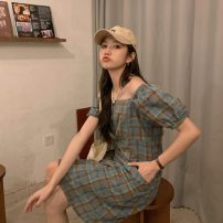 Dress Summer 2021 Dark blue, green, pink Average size Middle-skirt singleton  Short sleeve commute square neck High waist lattice zipper A-line skirt puff sleeve Others 18-24 years old Type A Other / other Korean version 30% and below polyester fiber