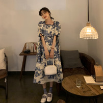 Dress Summer 2021 Picture color Average size Mid length dress singleton  Short sleeve commute square neck High waist 18-24 years old Type A Korean version 30% and below