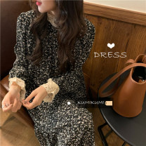 Dress Spring 2021 Apricot, black Average size Mid length dress singleton  Long sleeves commute Broken flowers routine 18-24 years old Korean version 30% and below Chiffon