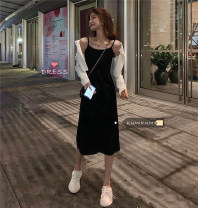 Dress Spring 2021 Black dress, white cardigan S. M, average size Miniskirt singleton  Sleeveless commute other High waist Solid color Socket One pace skirt other camisole 18-24 years old Type A Korean version straps 51% (inclusive) - 70% (inclusive) brocade cotton