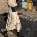 skirt Spring 2021 S,M,L Apricot, black longuette commute High waist Pleated skirt Solid color Type A 18-24 years old 30% and below other other zipper Korean version