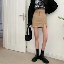 skirt Spring 2021 S,M,L Khaki, black Short skirt commute High waist A-line skirt Solid color Type A 18-24 years old 30% and below other zipper Korean version