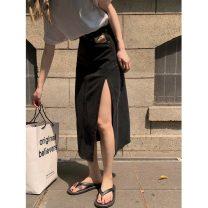 skirt Summer 2021 S,M,L Light blue, black gray Mid length dress commute High waist Denim skirt Solid color Type H 18-24 years old 30% and below pocket Korean version