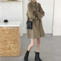 Dress Spring 2021 Grey khaki, brick red Average size Short skirt singleton  Long sleeves commute Polo collar Loose waist Solid color Single breasted other routine 18-24 years old Type H Korean version Pocket, button