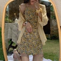Dress Spring 2021 Shirt, suspender skirt Average size Short skirt singleton  Sleeveless commute High waist Broken flowers Socket A-line skirt camisole 18-24 years old Type A Korean version 31% (inclusive) - 50% (inclusive)