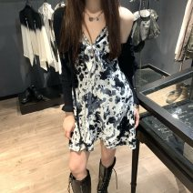 Fashion suit Spring 2021 S. M, average size Knitted cardigan, ink suspender skirt 18-25 years old