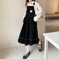 Dress Autumn 2020 Apricot, black Average size longuette singleton  Sleeveless commute High waist Solid color Socket Big swing straps 18-24 years old Type A Korean version Patch, pocket 31% (inclusive) - 50% (inclusive) cotton
