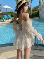 one piece  QHD M,L,XL Off white Skirt one piece With chest pad without steel support QHD041 female Long sleeves Casual swimsuit