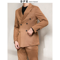 Suit Business gentleman Others routine Baling collar Double slit autumn standard Double breasted wedding youth Business Formal  Regular collar (collar width 7-9cm) 2019 Solid color Semi hemp lining technology cotton