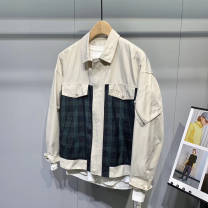 Jacket Other / other Youth fashion Lattice splicing M,L,XL,2XL routine standard Other leisure spring Long sleeves Wear out Lapel Japanese Retro youth 2020 Rib hem The appearance is loose and the inside is closed lattice