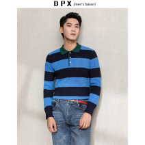 T-shirt / sweater Others Fashion City Blue, red M,L,XL,2XL routine Socket Lapel Long sleeves autumn Straight cylinder 2019 leisure time tide youth routine stripe washing Regular wool (10 stitches, 12 stitches)