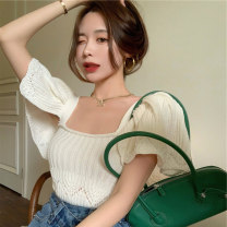 Women's large Spring 2021, summer 2021 Light green, apricot It is suggested that the size of the recommended size is 120-40kg, and it is recommended to use the size of 120-40kg T-shirt singleton  commute moderate Socket Short sleeve Retro square neck routine Three dimensional cutting puff sleeve