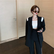 Women's large Autumn 2020 Black suit, gray suit, black pants, gray pants It is suggested that the size of the recommended size is 120-40kg, and it is recommended to use the size of 120-40kg suit Two piece set commute easy moderate Cardigan Long sleeves Korean version other Medium length routine