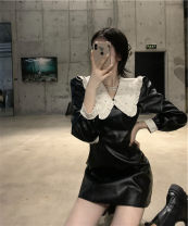 Women's large Autumn 2020 black It is suggested that the size of the recommended size is 120-40kg, and it is recommended to use the size of 120-40kg Dress singleton  commute Self cultivation moderate Socket Long sleeves Retro other 18-24 years old Short skirt