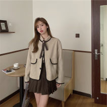 Women's large Winter 2020, autumn 2020 Oatmeal coat , Khaki Shirt , Khaki pleated skirt It is suggested that the size of the recommended size is 120-40kg, and it is recommended to use the size of 120-40kg Three piece set commute Self cultivation thick Cardigan Long sleeves Korean version Polo collar