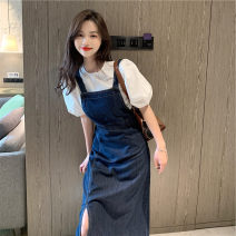 Women's large Autumn 2020 Top, strap, skirt It is suggested that the size of the recommended size is 120-40kg, and it is recommended to use the size of 120-40kg Dress Two piece set commute Self cultivation moderate Socket Short sleeve Korean version Crew neck routine puff sleeve 18-24 years old