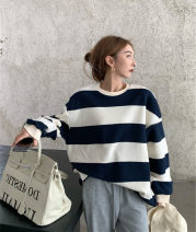 Women's large Autumn 2020 Striped top, grey pants It is suggested that the size of the recommended size is 120-40kg, and it is recommended to use the size of 120-40kg Two piece set commute easy moderate Socket Long sleeves Stripe, solid color Korean version Crew neck Medium length routine trousers