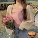 Women's large Autumn 2020 Apricot cardigan, black cardigan, pink vest and black vest It is suggested that the size of the recommended size is 120-40kg, and it is recommended to use the size of 120-40kg Two piece set commute easy moderate Cardigan Long sleeves Korean version other routine