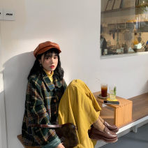 Women's large Winter 2020, autumn 2020 Jacket piece, yellow base piece, skirt piece It is suggested that the size of the recommended size is 120-40kg, and it is recommended to use the size of 120-40kg Three piece set commute easy thick Cardigan Long sleeves Plaid, solid Retro routine 18-24 years old