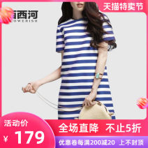 Dress Summer 2020 stripe S M L XL 2XL longuette singleton  Short sleeve street Crew neck Loose waist stripe Socket A-line skirt Others 18-24 years old Xixi River 2OM18-1253 More than 95% polyester fiber Polyester 95% polyurethane elastic fiber (spandex) 5% Europe and America