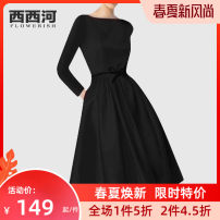Dress Autumn of 2019 black S M L XL 2XL Mid length dress singleton  Long sleeves street Crew neck middle-waisted Solid color Socket A-line skirt other Others 30-34 years old Xixi River PH19-1052 More than 95% polyester fiber Polyester 100% Pure e-commerce (online only) Europe and America